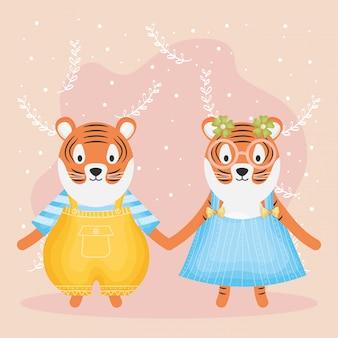 Linda pareja tigres con personajes de ropa