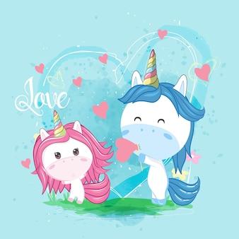 Linda pareja unicornio con corazones