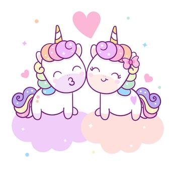 Linda pareja unicornio vector para el día de san valentín
