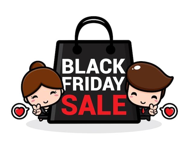 Una linda pareja de ventas promocionales con una gran bolsa de compras negra