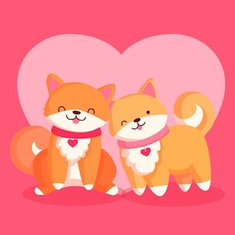 Linda pareja de zorros del día de san valentín