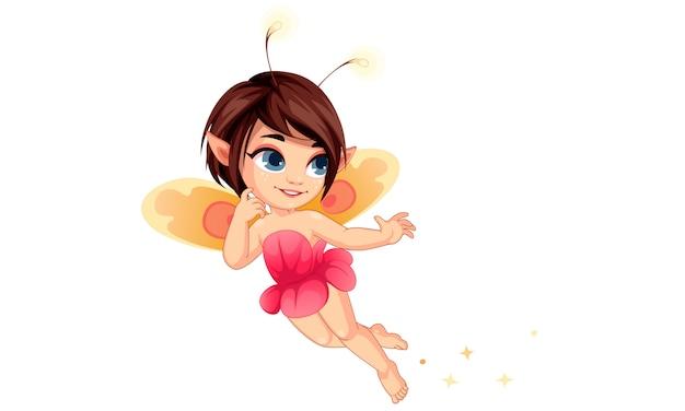 Linda pequeña flor hada volando