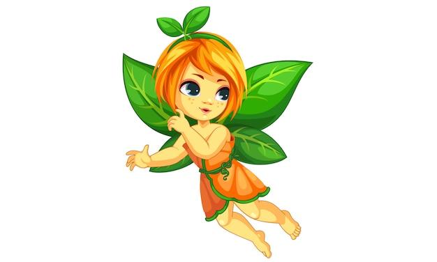Linda pequeña hada naranja volando