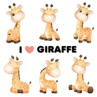 Linda pequeña jirafa posa con ilustración acuarela
