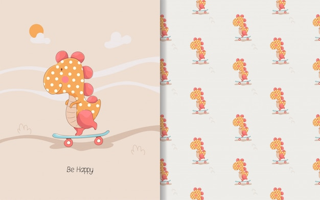 Linda pequeña tarjeta de dino y patrones sin fisuras para niños