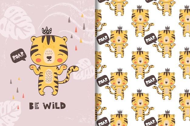 Linda pequeña tarjeta de tigre y patrones sin fisuras