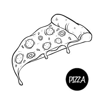 Linda pizza deliciosa con queso derretido y usando el estilo de doodle dibujado a mano