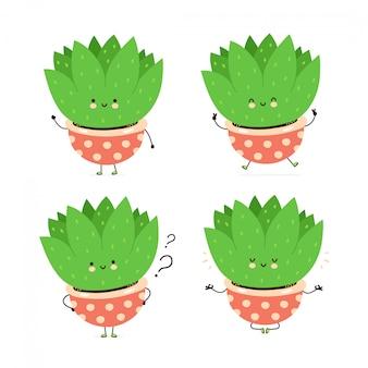 Linda planta feliz en maceta colección de juegos de caracteres. aislado en blanco diseño de ilustración de personaje de dibujos animados de vector, estilo plano simple. planta suculenta caminar, entrenar, pensar, meditar concepto