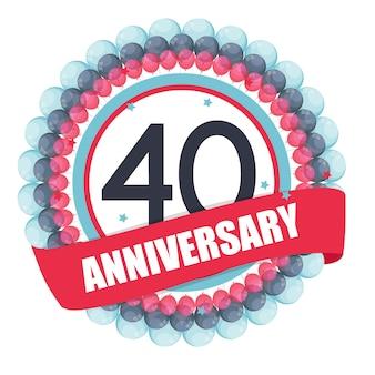Linda plantilla de 40 años de aniversario con globos y cinta vect