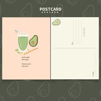 Linda plantilla de aguacate para postales. aguacate y jugo
