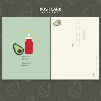 Linda plantilla de aguacate para postales. aguacate y salsa.