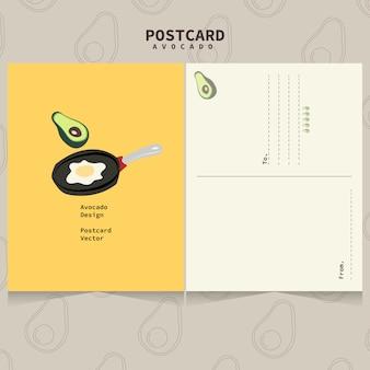 Linda plantilla de aguacate para postales. aguacate, sartén y huevo frito.