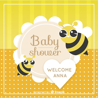 Linda plantilla de baby shower con abejas