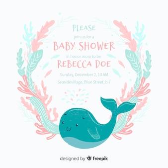Linda plantilla de baby shower con ballena