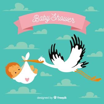 Linda plantilla de baby shower con cigüeña flat