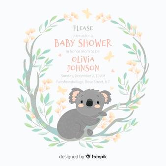 Linda plantilla de baby shower con koala