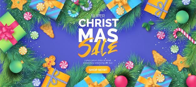 Linda plantilla de banner de venta de navidad con regalos