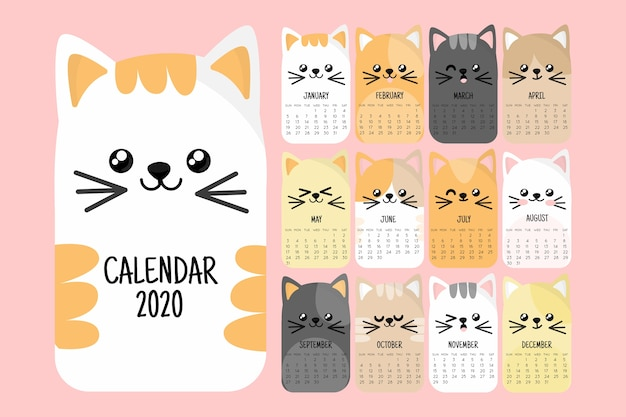 Linda plantilla de calendario 2020