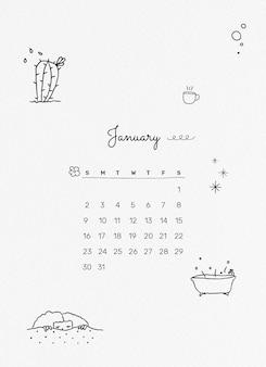 Linda plantilla de calendario de enero de 2022, vector de planificador mensual editable, estilo doodle