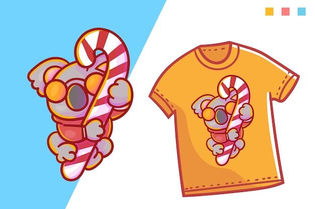Linda plantilla de camiseta de caramelo de koala