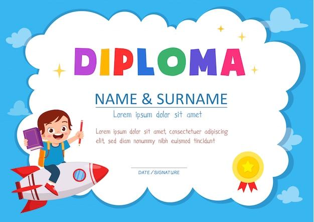Linda plantilla de certificado de diploma para estudiante de la escuela