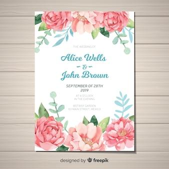 Linda plantilla de invitación de boda con flores peonía de acuarela