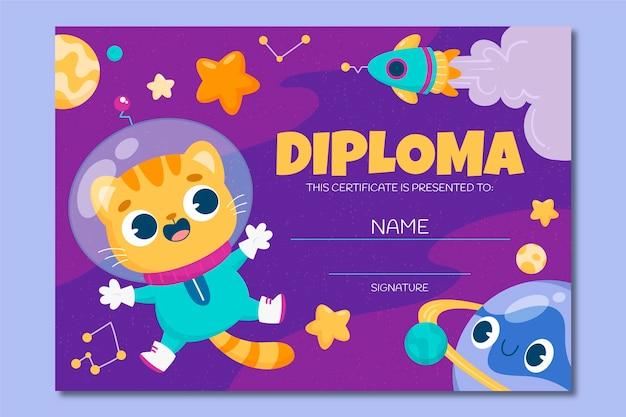 Linda plantilla de diploma de gatito astronauta