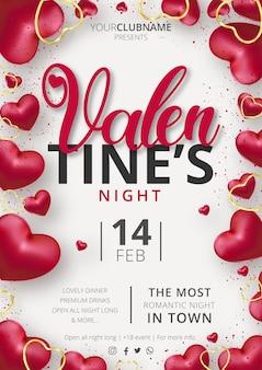 Linda plantilla de evento de cartel de fiesta de san valentín con composición de corazones realista