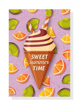 Linda plantilla de fondo de verano para pancartas y fondos de pantalla, tarjetas de invitación y carteles. helado dulce y kiwi, naranja y limón en la parte posterior.