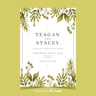 Linda plantilla de invitación de boda con hojas de acuarela