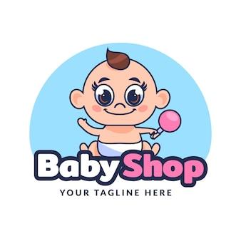 Linda plantilla de logotipo de bebé detallada