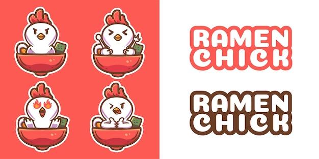 Linda plantilla de logotipo de mascota de pollo ramen