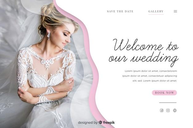 Linda plantilla de página de aterrizaje de boda con foto