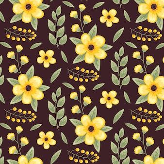 Linda plantilla de patrón transparente floral amarillo