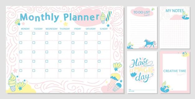 Linda plantilla de planificador mensual y notas de papel de diario.