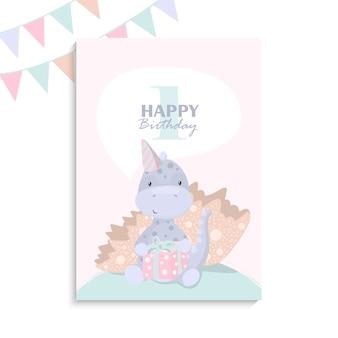 Linda plantilla de tarjeta de felicitación de feliz cumpleaños con un dinosaurio de dibujos animados