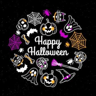 Linda plantilla de tarjeta de felicitación de feliz halloween dibujada a mano