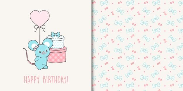 Linda plantilla de tarjeta de feliz cumpleaños mouse y cintas de patrones sin fisuras