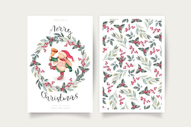 Linda plantilla de tarjeta de navidad con encantador personaje