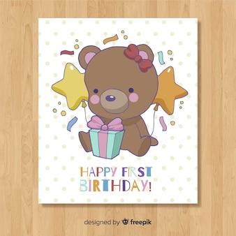 Linda plantilla de tarjeta del primer cumpleaños