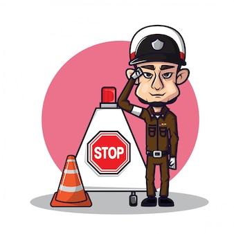 Linda policía de tráfico tailandesa