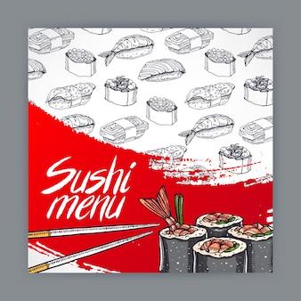 Linda portada para menú de sushi. ilustración dibujada a mano
