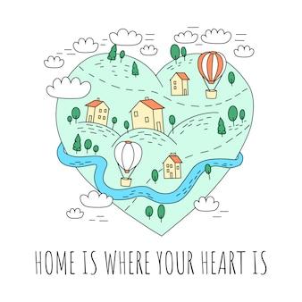 Linda postal y cartel con un pueblo un corazón.