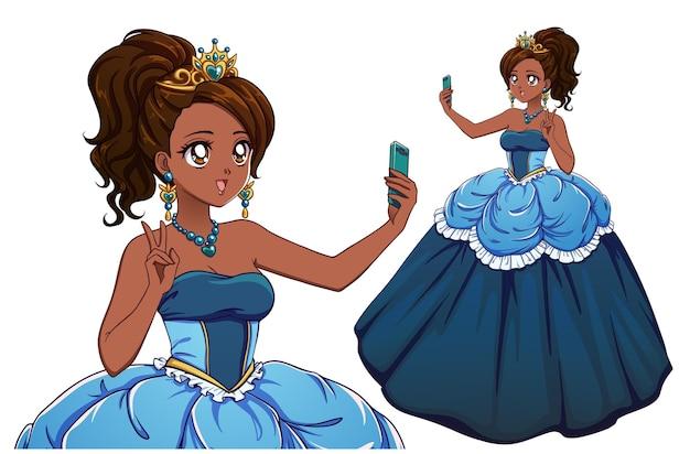 Linda princesa de anime tomando selfie