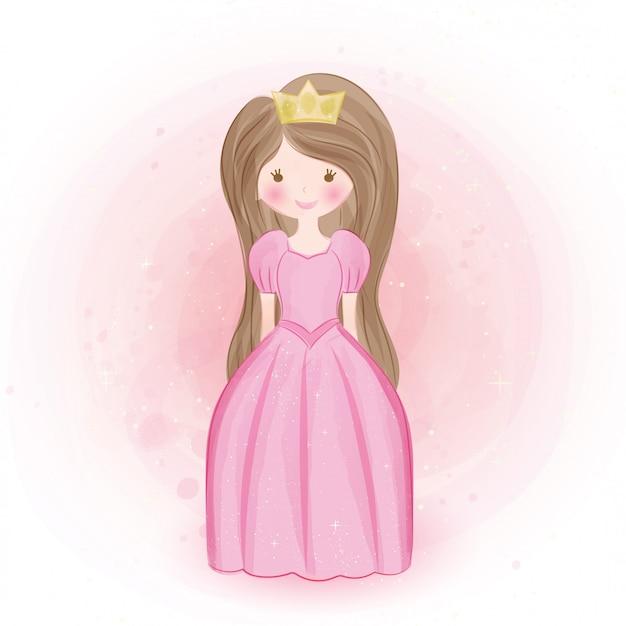 Linda princesa en estilo de color de agua.