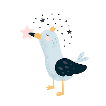 Linda princesa gaviota de pájaro en corona con estrellas
