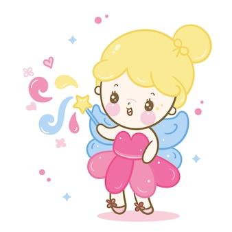 Linda princesa de hadas de dibujos animados de ángel