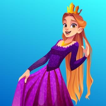 Linda princesa, hermosa niña en corona de oro