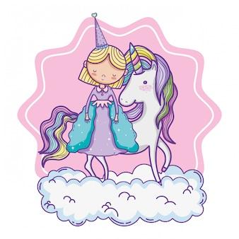 Linda princesa mágica de dibujos animados