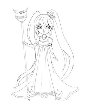 Linda princesita con vestido de estilo ampir, arte dibujado a mano. arte de contorno para colorear, tatuajes, moda, juegos, tarjetas. ilustración.